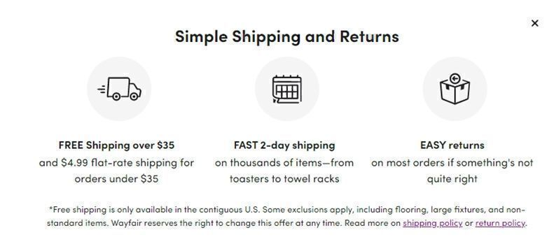 Wayfair shipping