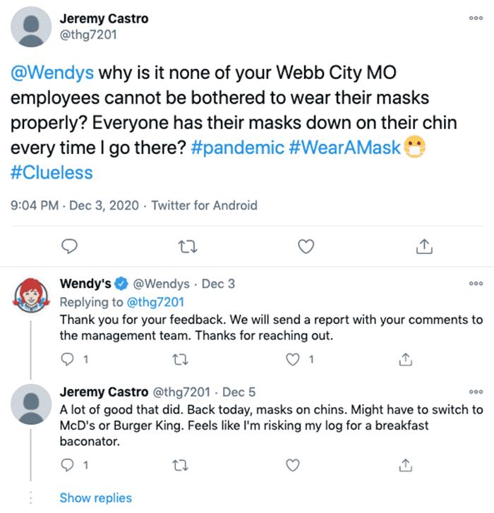 Wendys customer service response