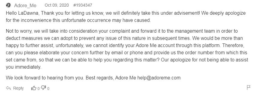 Adore Me company responses