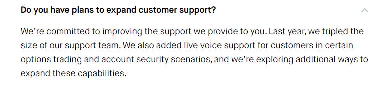 Robinhood FAQ support