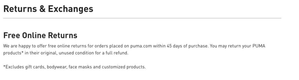 Puma return policy