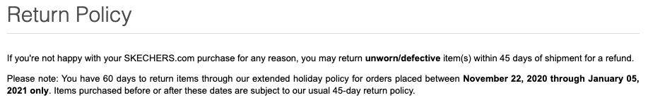 Skechers return policy