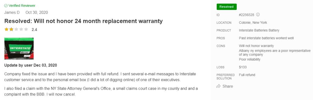 Interstate Batteries warranty issue resolved