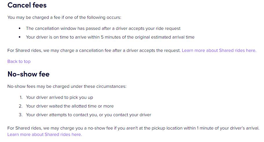 Lyft cancellation fees
