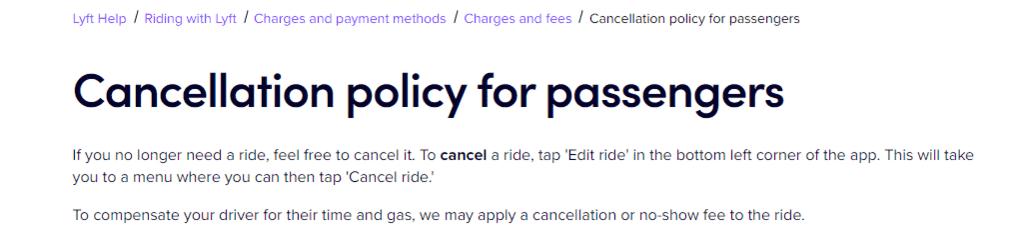 Lyft cancellation policy