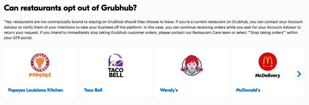 GrubHub Help restaurants opt out
