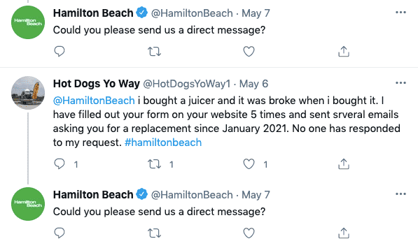 Hamilton beach Twitter page