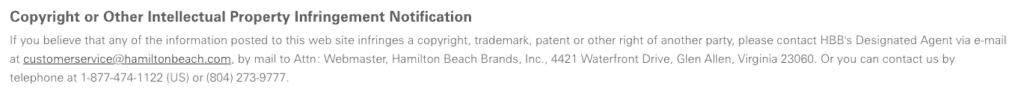 Hamilton Beach copyright infringement