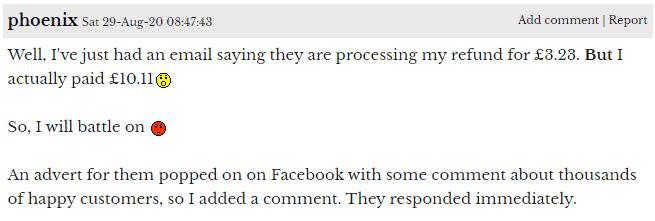 Airydress forum thread comment on refund sum