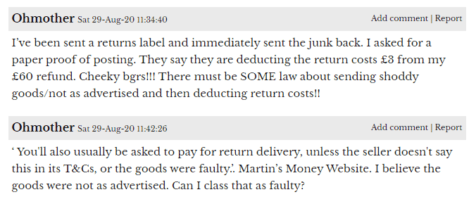 Airydress return costs comment
