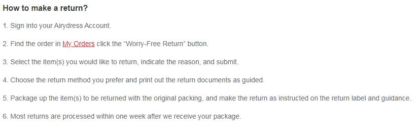 Airydress return process