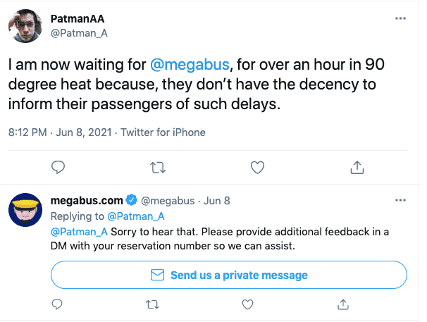 Tweet to Megabus on Twitter