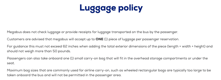 Megabus luggage policy