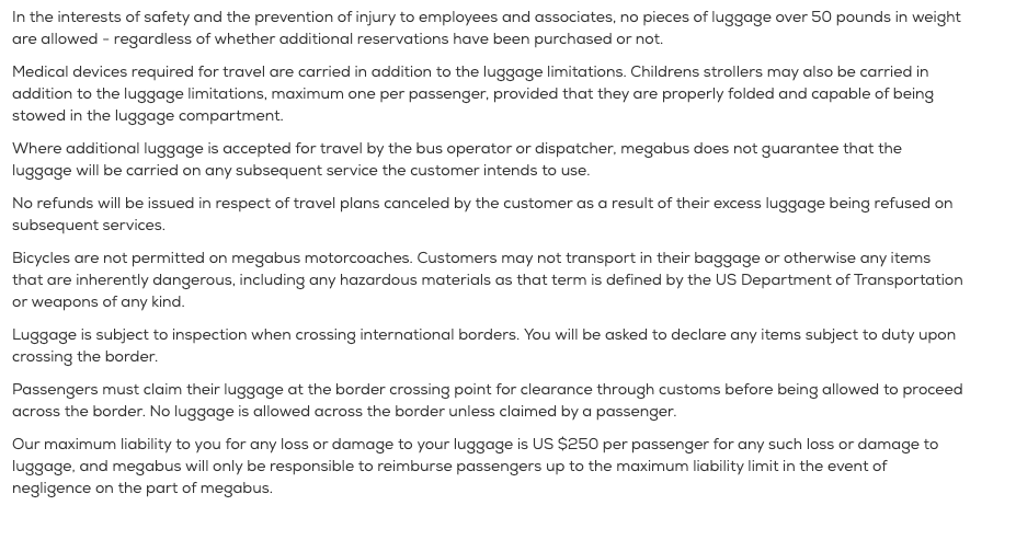 Megabus safety measures and luggage limitations