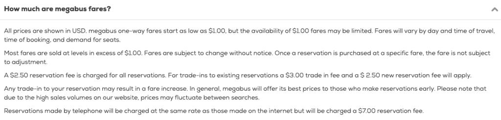 Megabus ticket fees