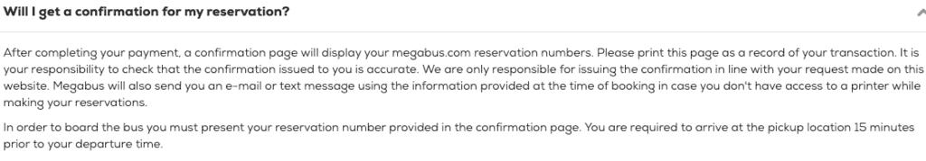 Megabus ticket reservation confirmation