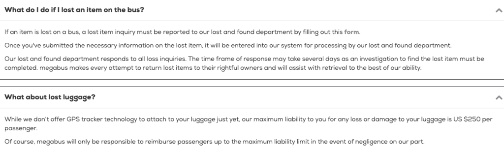 Megabus lost items and luggage faqs