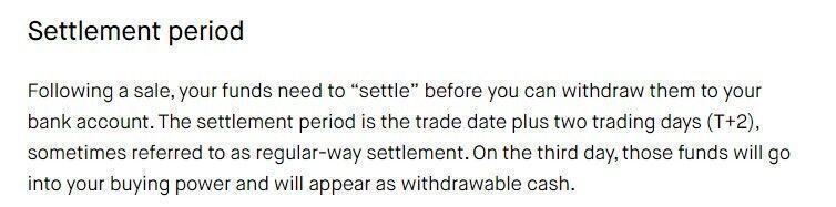 funds settlement robinhood