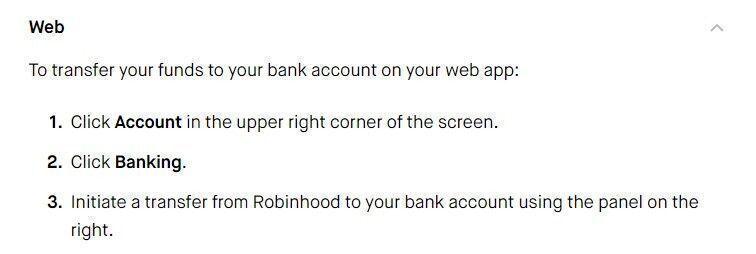 withdraw money from Robinhood on web
