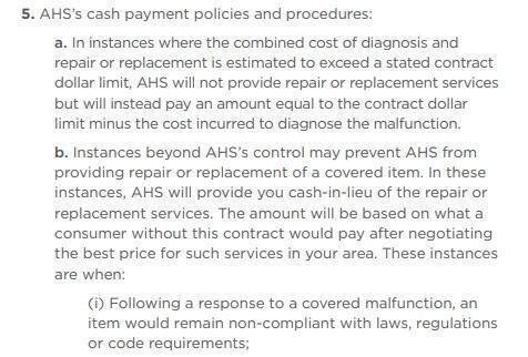 AHS cash payment policies