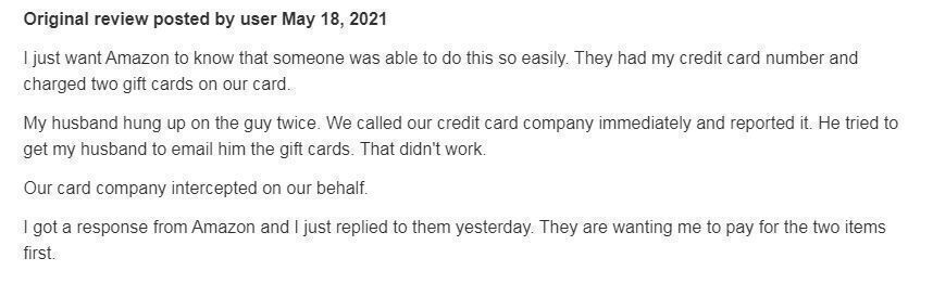 Amazon review about calls