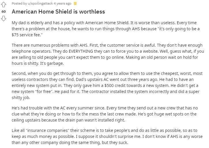 American Home Shield Reddit review