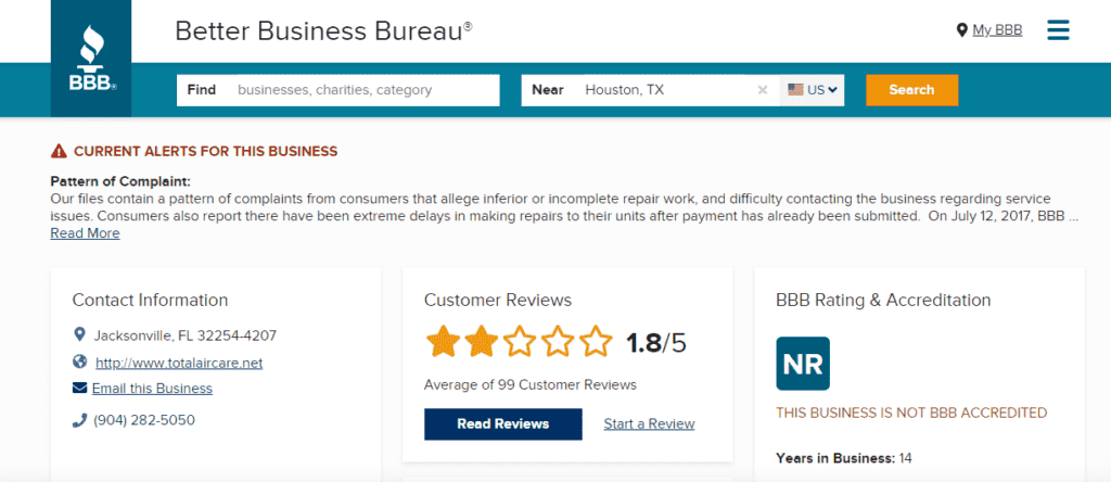 TotalAirCare.net rating on BBB