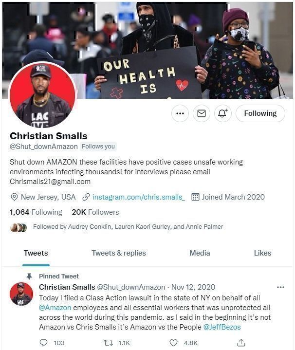 Christian Smalls Twitter page