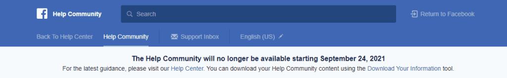 Facebook Help Community alert