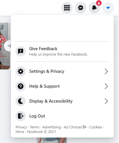 Facebook help and support menu