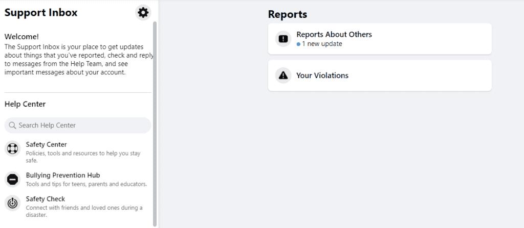 Facebook support inbox message