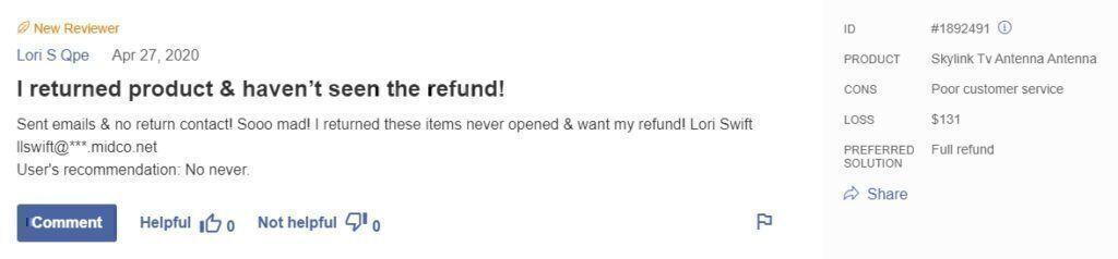 Skylink Tv Antenna Review on refund