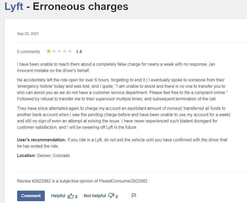Lyft review Erroneous charges